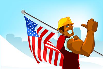 cartoon man with flag