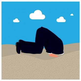 cartoon man with head in sand